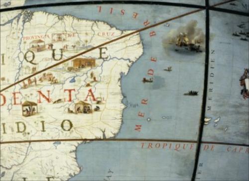 Le Brésil sur le globe terrestre de Coronelli